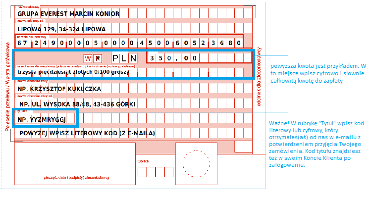 Przykład wypełnienia blankietu Poczty Polskiej
